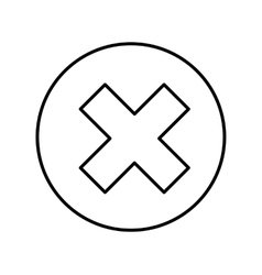 Button with x isolated icon vector