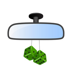 Car rear view mirror with green dices vector