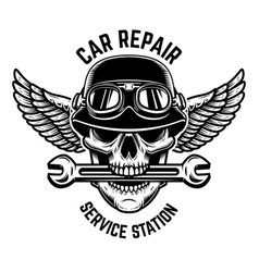 car repair skull in winged helmet with wrench in vector image