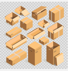 Carton paper box or cardboard post package vector