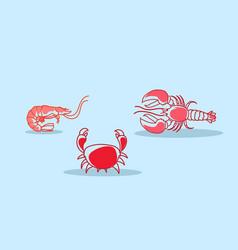 Cartoon red crab lobster shrimb icon fresh seafood vector