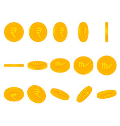 cartoon yellow rupee coins animation set vector image