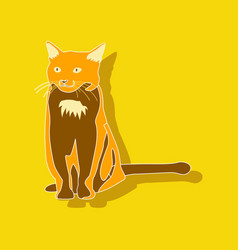 Cat paper sticker on stylish background vector
