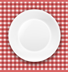 Checkered cloth and white plate vector
