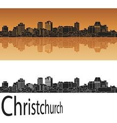 Christchurch skyline in orange vector image