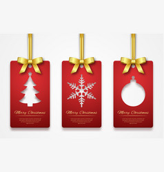 christmas tags on white background with golden vector image