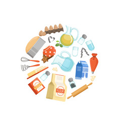 cooking ingridients or groceries circle vector image
