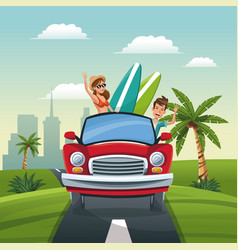 Couple car travel vacation road landscape city vector