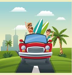 couple car travel vacation road landscape city vector image
