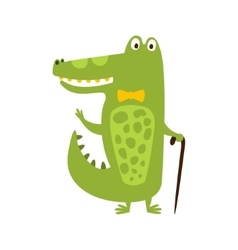 Crocodile With Bow Tie And Cane Flat Cartoon Green vector