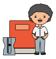 cute little student boy with book and sharpener vector image