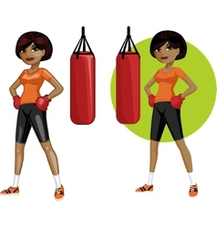 Cute young African American woman boxer vector image