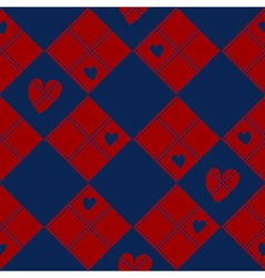 Diamond Chessboard Red Navy Blue Heart Valentine vector