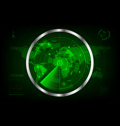 digital green radar with targets and world map vector image