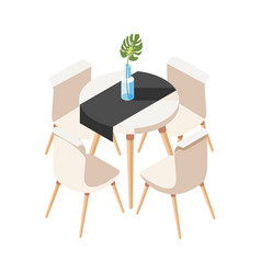 Dining table loft composition vector