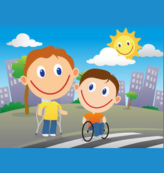 Disabled children crossing the road vector
