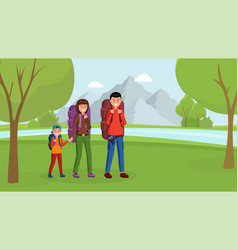 family camping flat style vector image