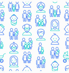 Family seamless pattern with thin line icons vector