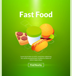 fast food poster of isometric color design vector image