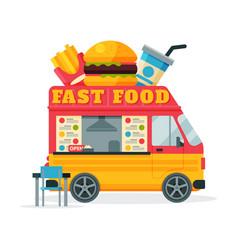 Fast food truck street meal van fast food vector