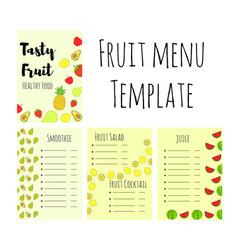 Fruit food menu template vector