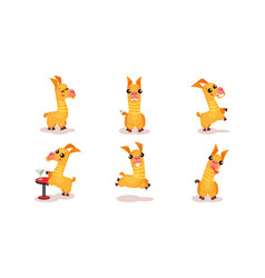Funny babies llamas in different actions with vector