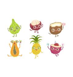 funny tropical fruit characters set papaya vector image