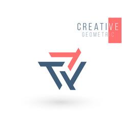 geometric triangle unity or trinity abstract logo vector image