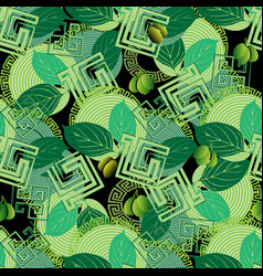 green olives floral greek style seamless pattern vector image