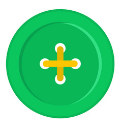 Green sewing button icon isolated vector