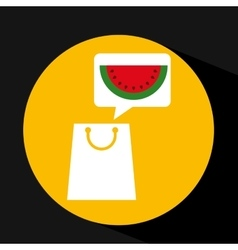 Grocery shopping bag watermelon fruit design vector