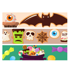 halloween party colorful sweets cupcakes brochure vector image