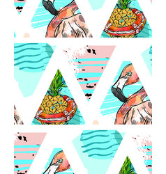 hand made exotic seamless pattern with tropical vector image