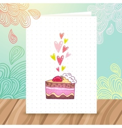 Happy Birthday postcard template with cake vector image