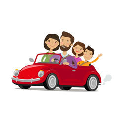 Happy family travelling by car journey travel vector