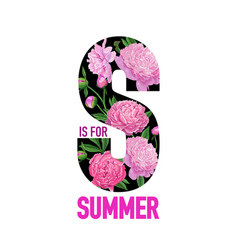 hello summer floral design with blooming peony vector image