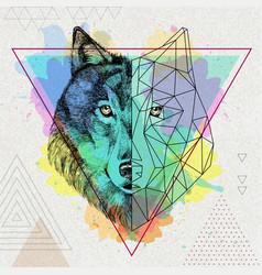 Hipster animal realistic and polygonal wolf on vector