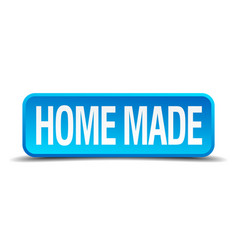 Home made blue 3d realistic square isolated button vector
