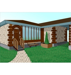 house in the village vector image