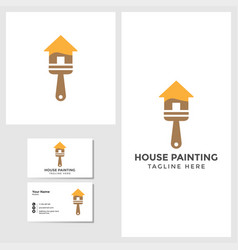house painting logo template with business card vector image