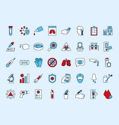 icon set covid19 test line and fill style vector image