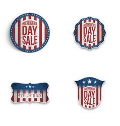 Independence day patriotic emblems and shields set vector