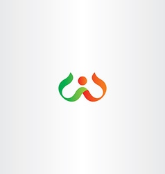 letter w red green logo symbol vector image