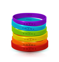 Lgbt pride rainbow bracelets for gay lesbian vector