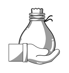 line cloth bag to save things in the hand vector image
