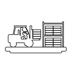 Line laborer with construction forlift equipment vector