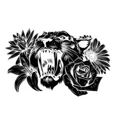 lion head animal engraving vector image
