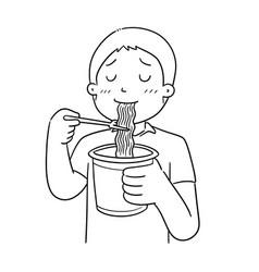 man eat noodle vector image