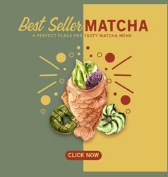 Matcha sweet social media design with donut vector