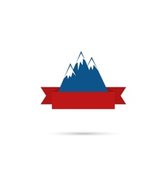 Mountains with ribbon for your text vector image